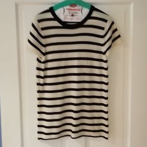J. Crew navy and white striped cashmere sweater